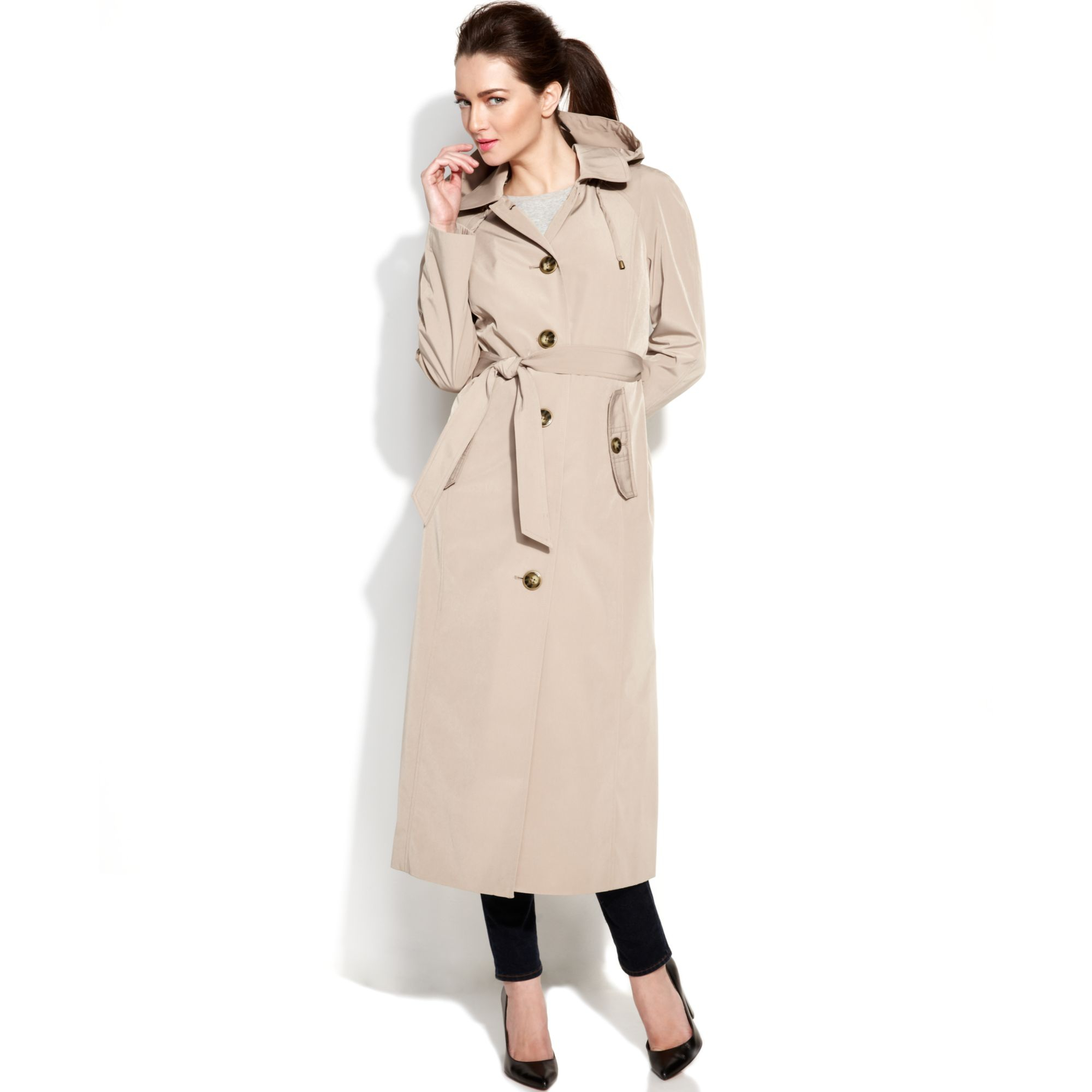 ce2563ba4 London Fog Natural Hooded Singlebreasted Maxi Trench Coat