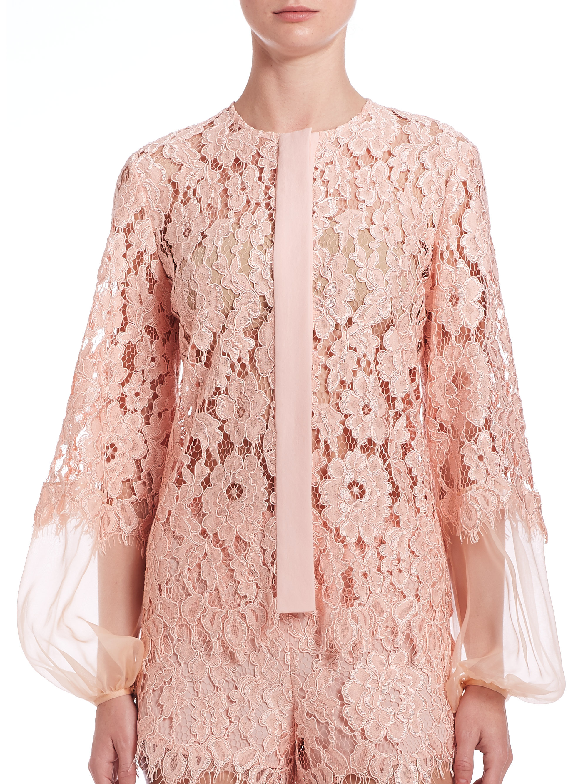 Images of Pink Lace Blouse - Reikian