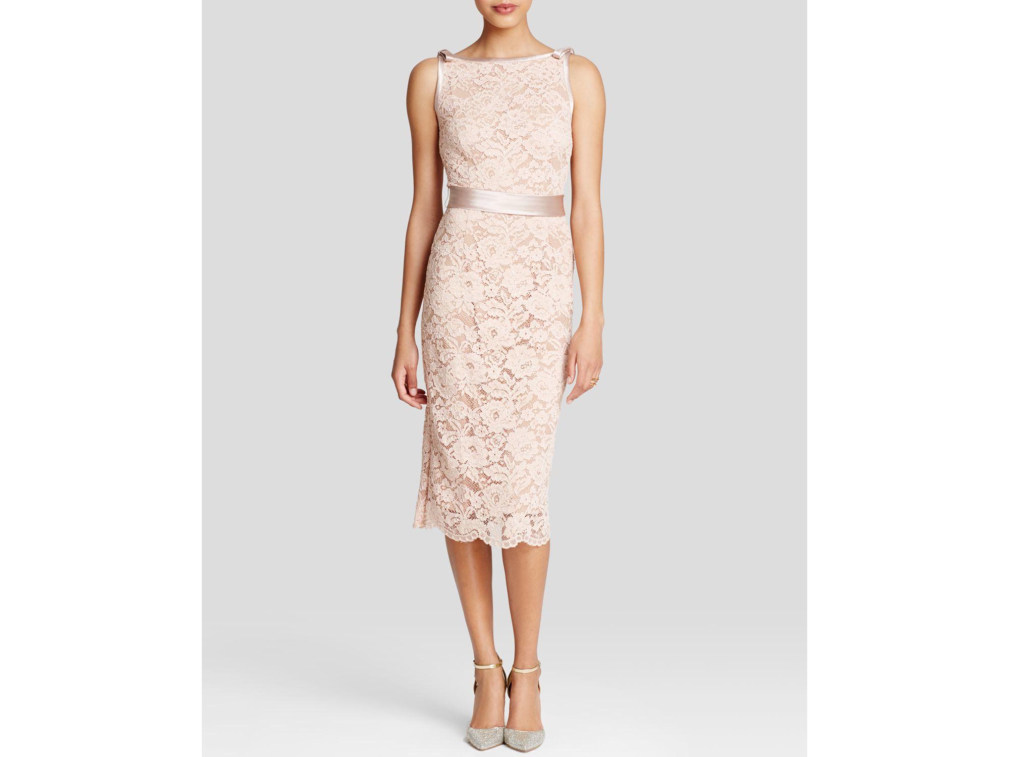 d3fa503d67d ABS By Allen Schwartz Dress - Sleeveless Lace Sheath Midi in Pink - Lyst