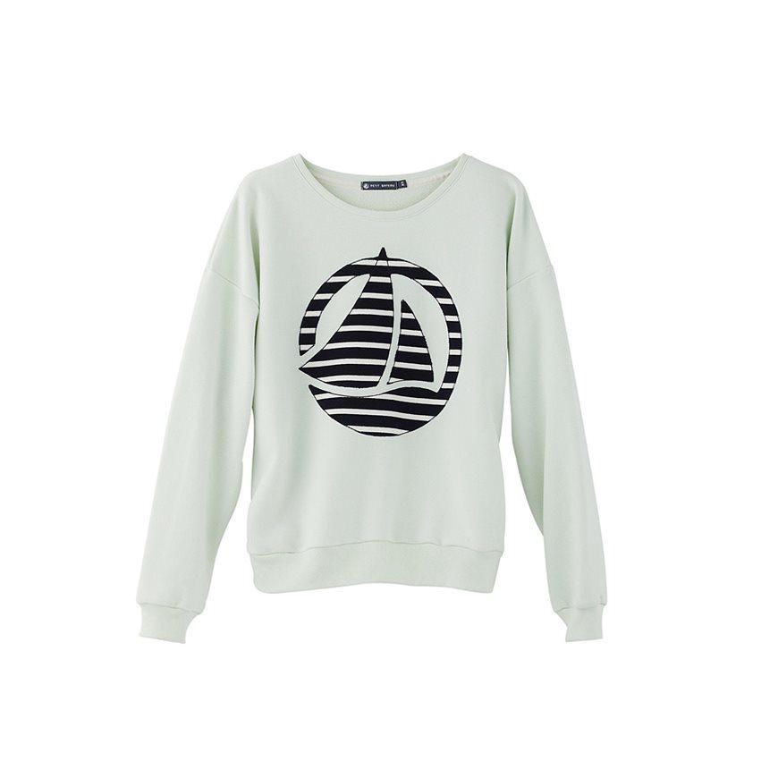 petit bateau women 39 s plain brushed fleece sweatshirt with striped logo patch in green lyst. Black Bedroom Furniture Sets. Home Design Ideas