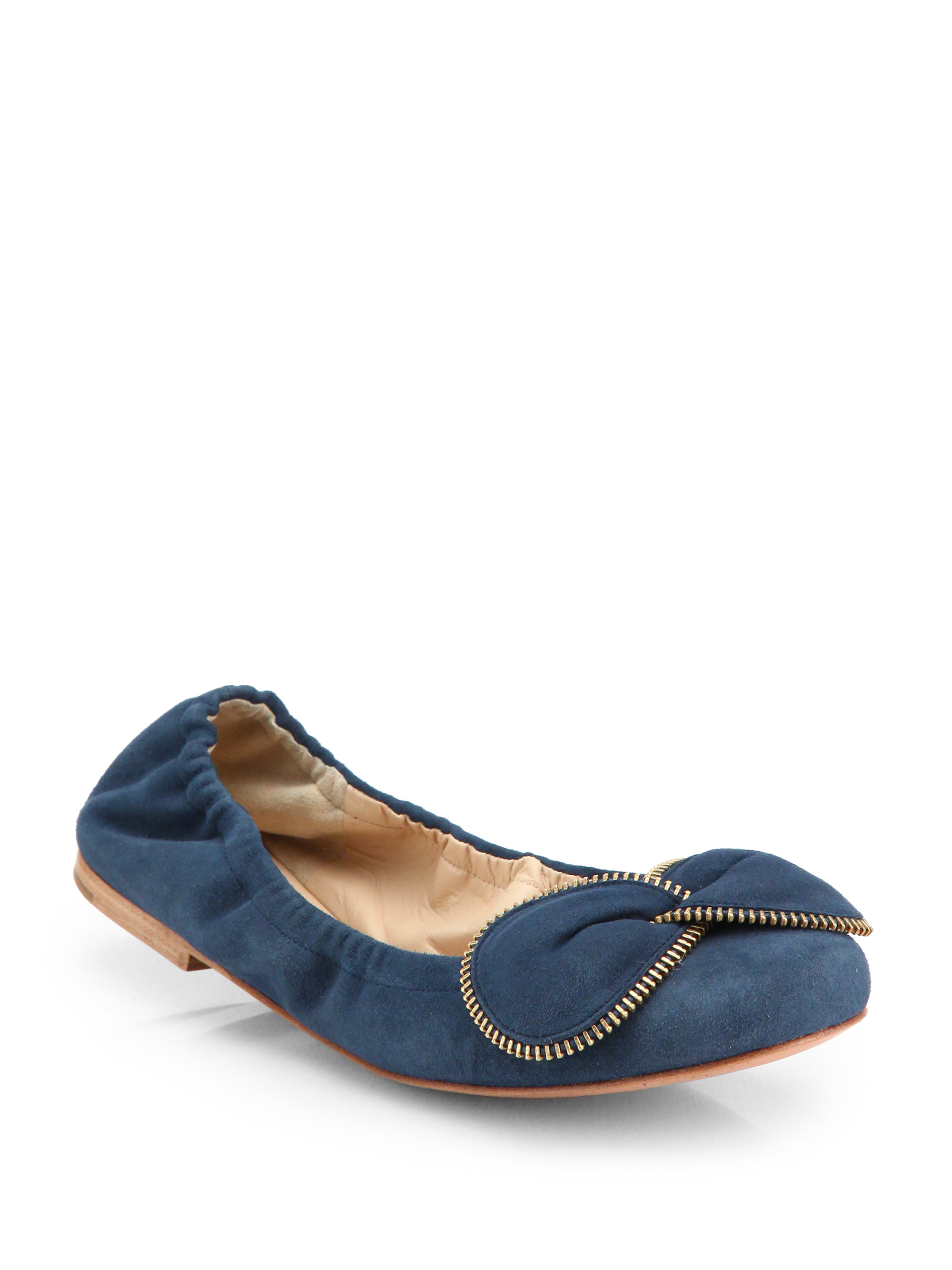see by chlo suede bowtie ballet flats in blue lyst. Black Bedroom Furniture Sets. Home Design Ideas