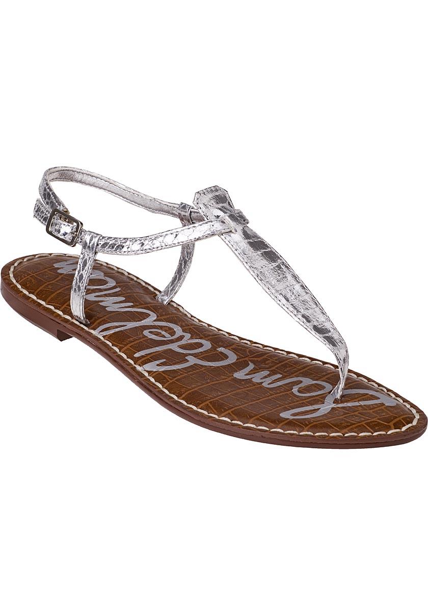 Sam edelman Gigi Flat Sandal Silver Croc in Silver (Silver ...
