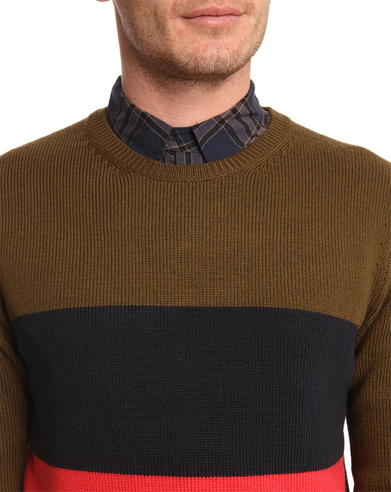marc by marc jacobs freddie khaki striped sweater in natural for men lyst. Black Bedroom Furniture Sets. Home Design Ideas