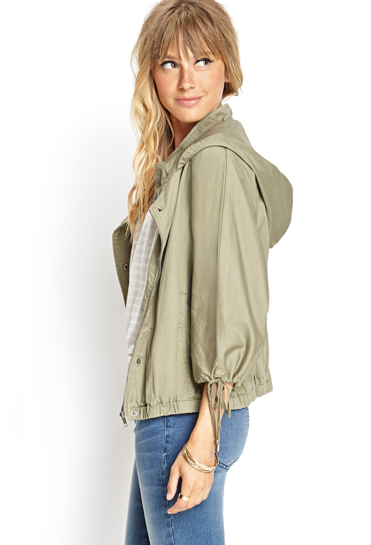 Utility Jacket Jackets And Nike: Forever 21 Hooded Utility Jacket In Green
