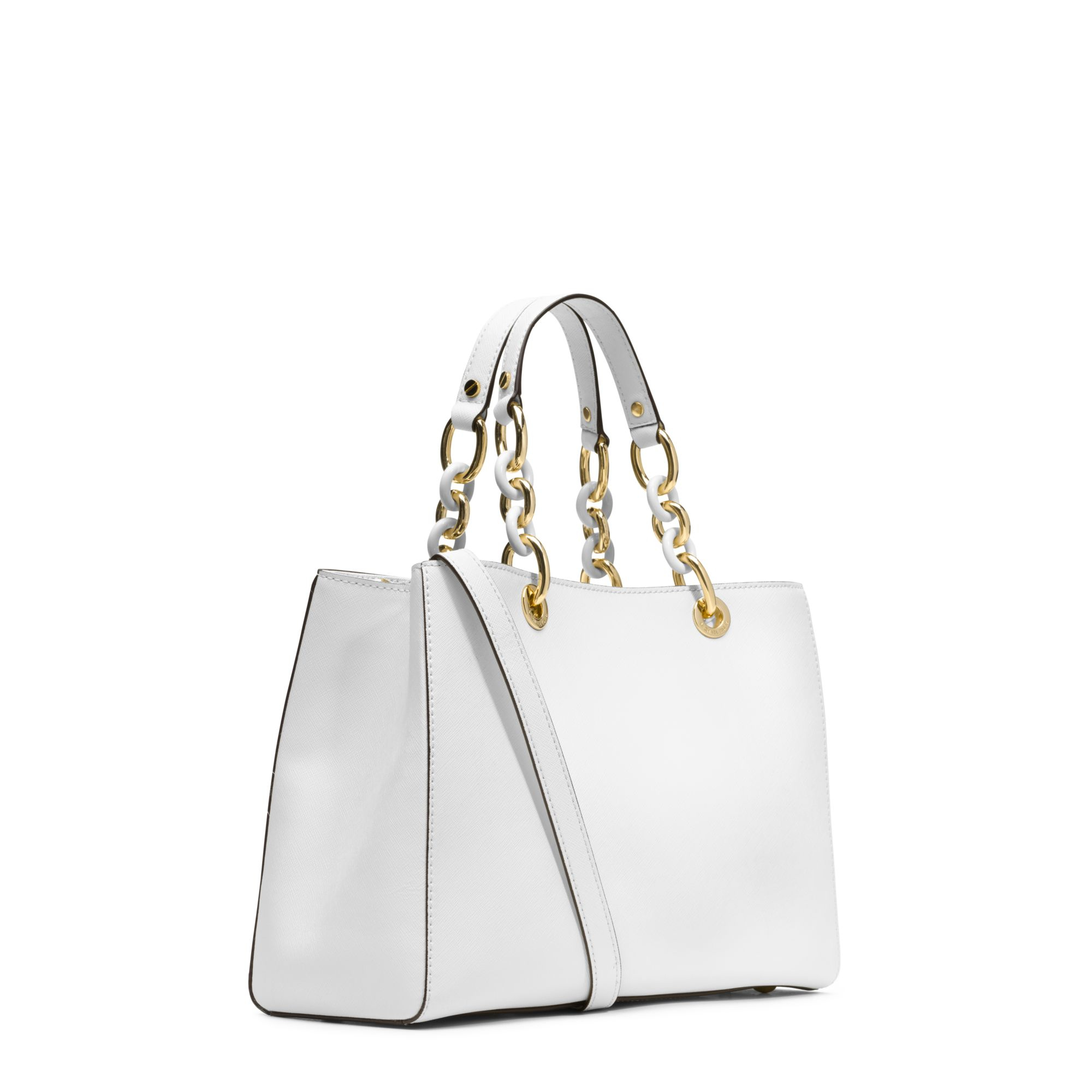 52cf38c32b5d ... 50% off lyst michael kors cynthia medium leather satchel in white 6be18  e6c27