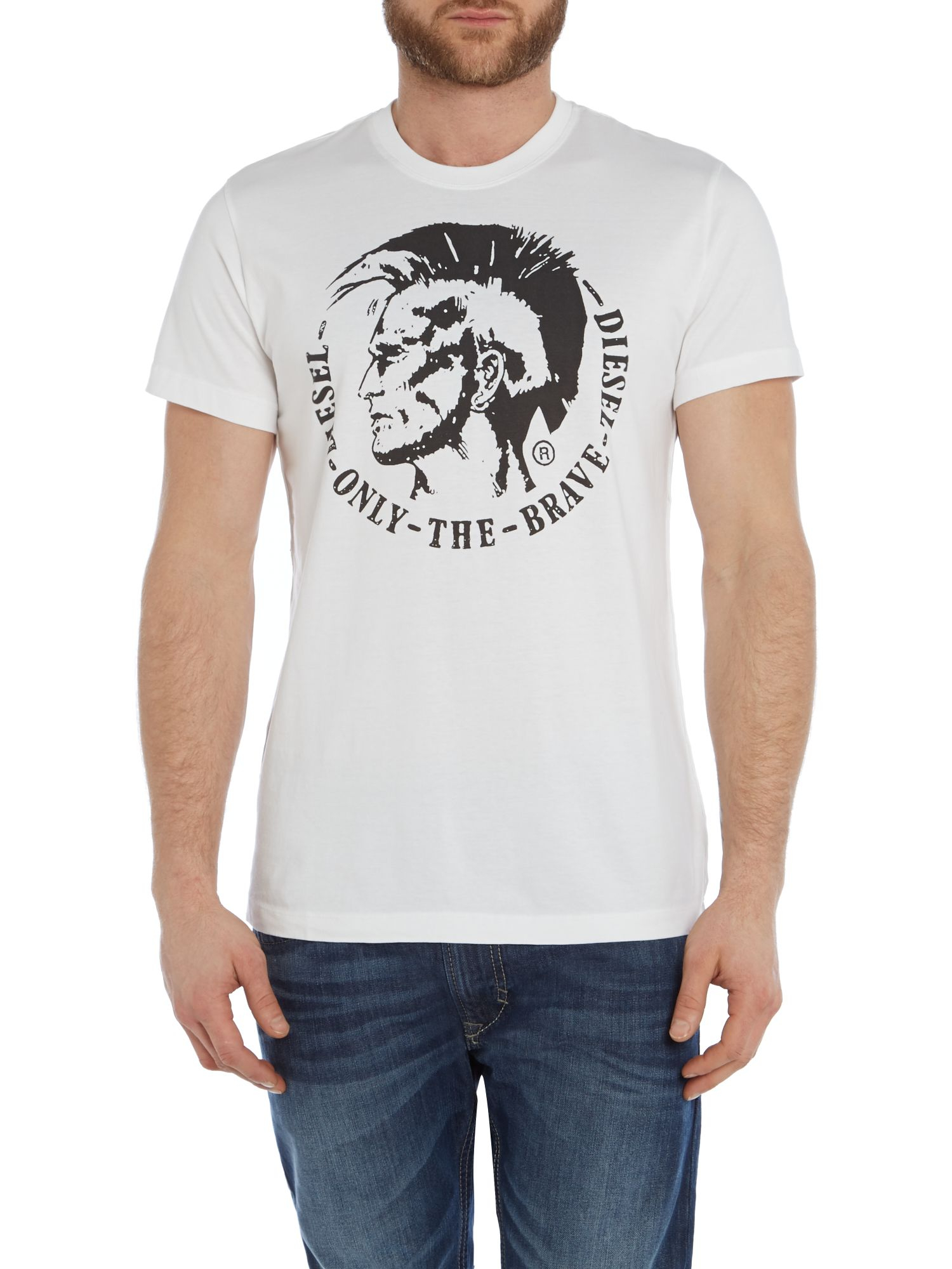 lyst diesel t ulysse mohican graphic t shirt in white for men. Black Bedroom Furniture Sets. Home Design Ideas