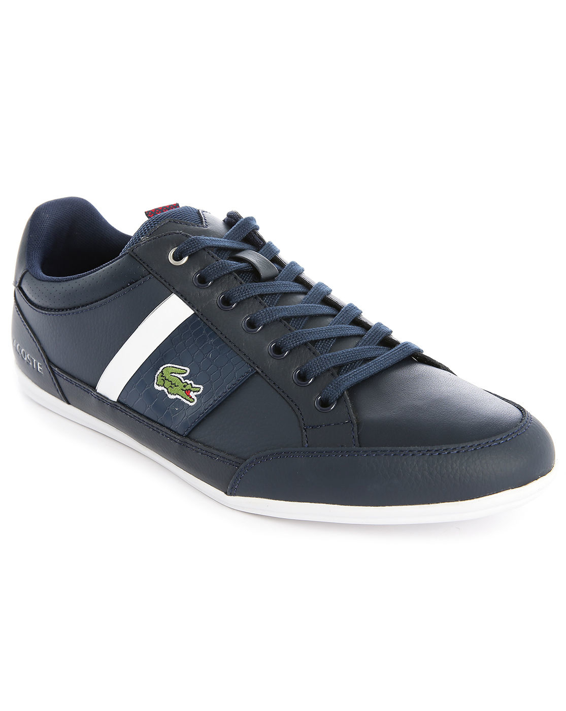 lacoste chaymon navywhite lowtop sneakers in blue for