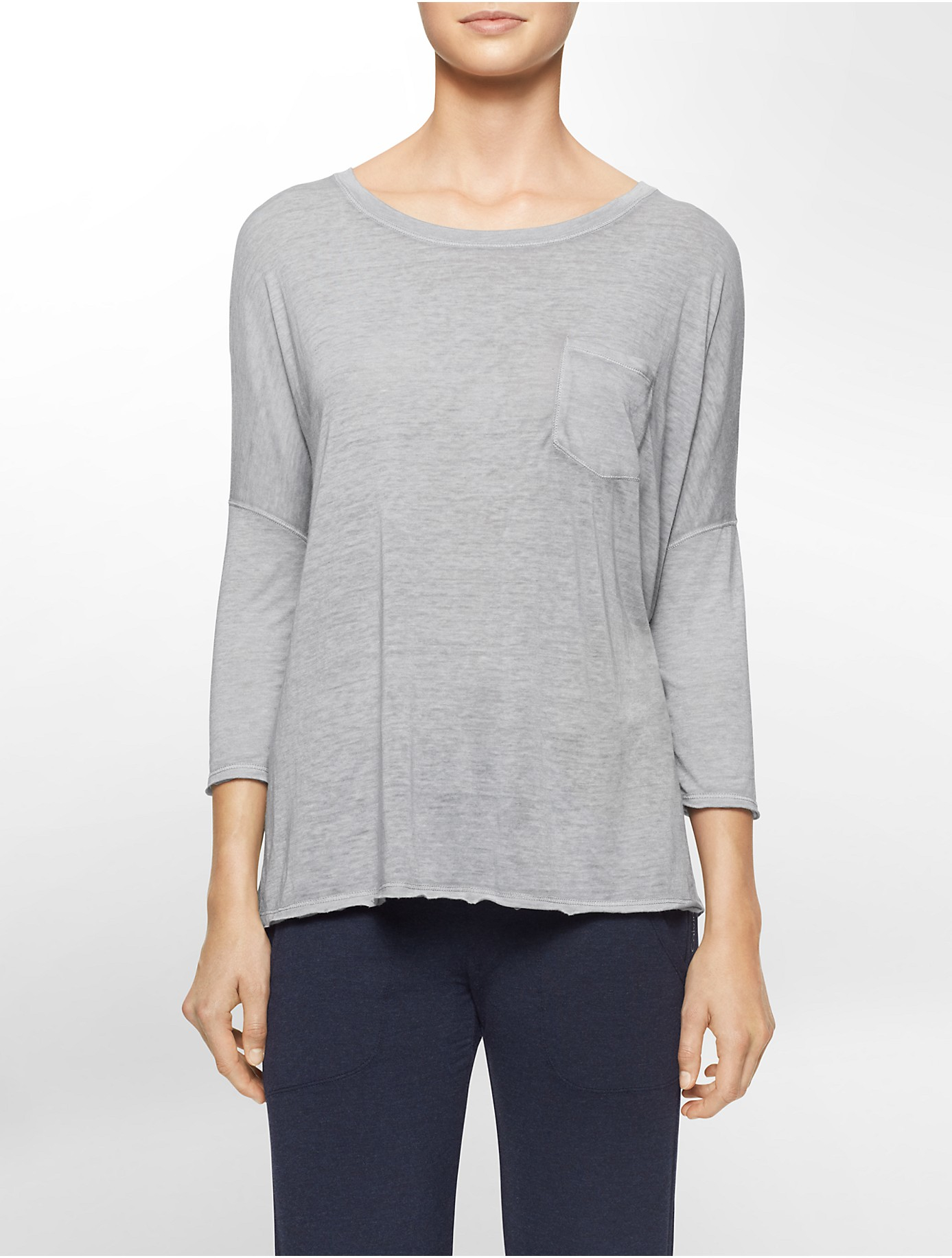lyst calvin klein performance high low dolman sleeve top in gray. Black Bedroom Furniture Sets. Home Design Ideas