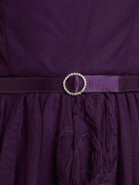 Eliza J Mesh Ribbon Skirt Belted Fit Flare Dress In Purple