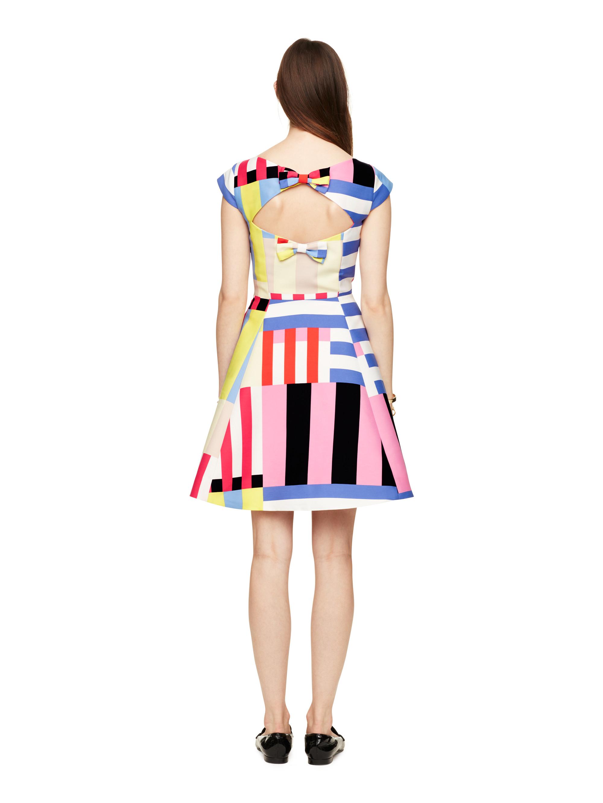Kate Spade Multi Stripe Kite Bow Back Dress Lyst