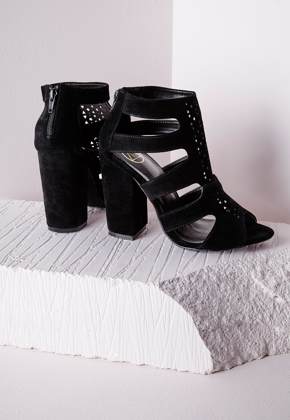 Missguided Block Heel Gladiator Sandals Black in Black | Lyst