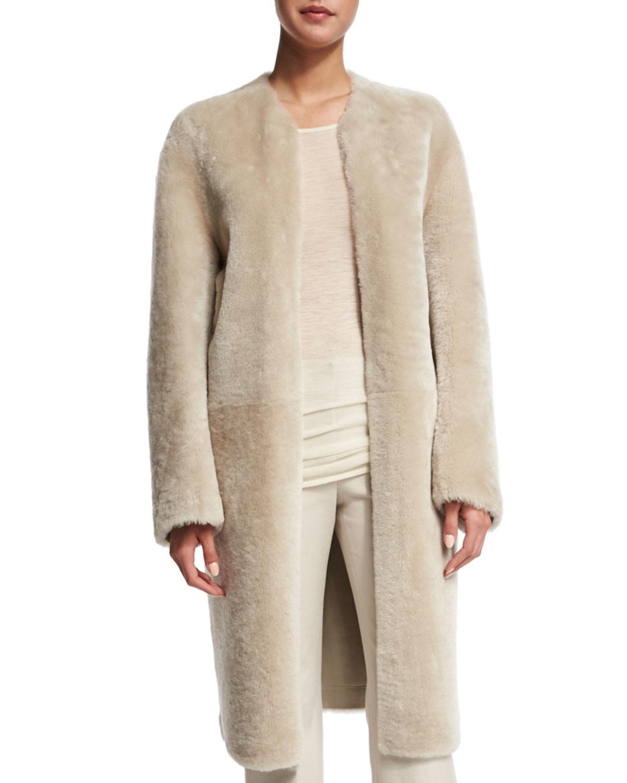 Helmut lang Glossy Shearling Fur Coat in Natural | Lyst
