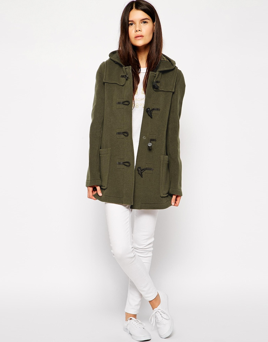 Gloverall Swing Duffle Coat in Green | Lyst