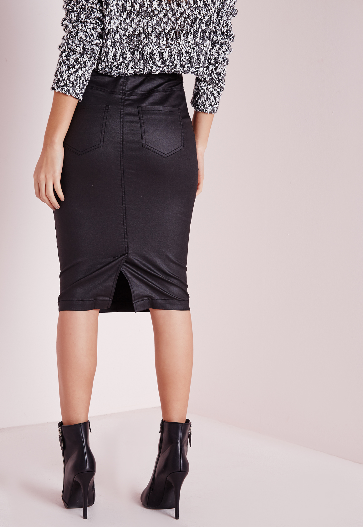 Missguided Sinner High Waisted Denim Skirt Black Coated in Black ...