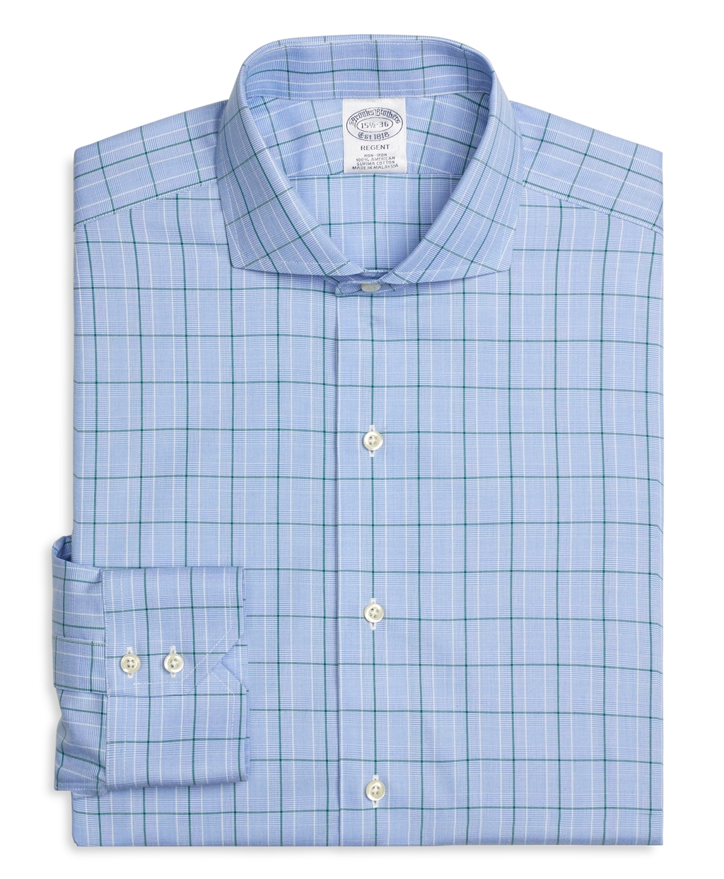 Lyst brooks brothers non iron regent fit glen plaid for Brooks brothers dress shirt fit