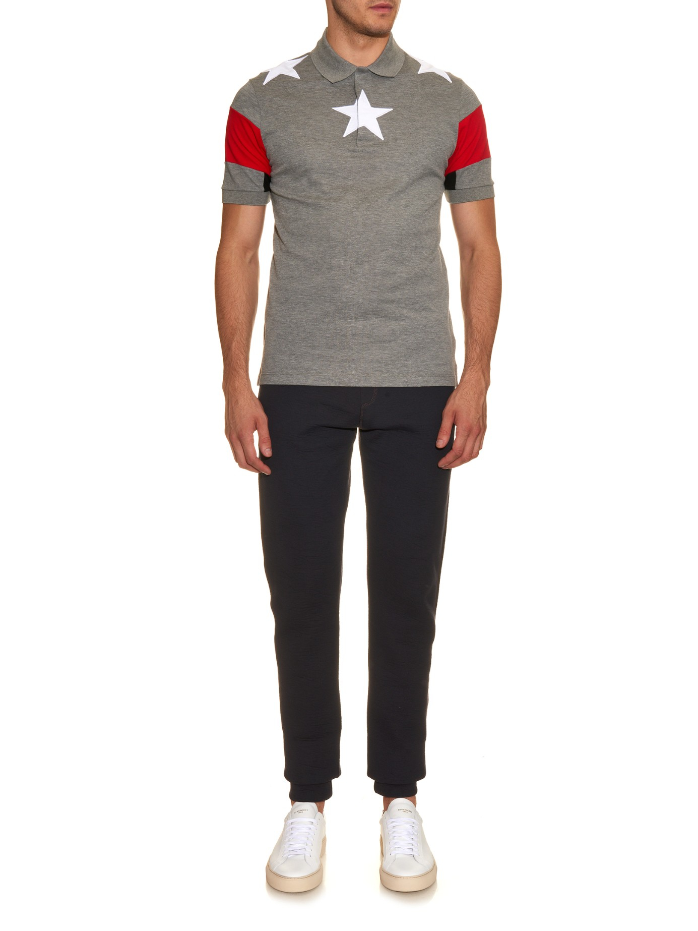 88627abb Givenchy Cuban-Fit Star-Embroidered Polo Shirt in Gray for Men | Lyst