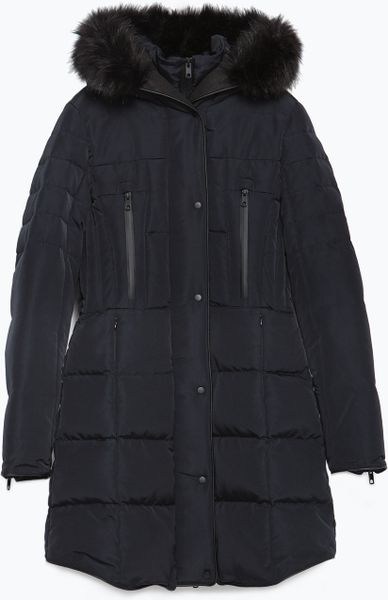 Zara Waterproof Quilted Anorak In Blue Navy Blue Lyst
