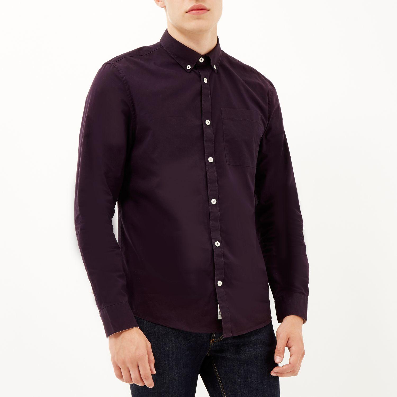 River island Dark Purple Twill Button-down Shirt in Purple ...