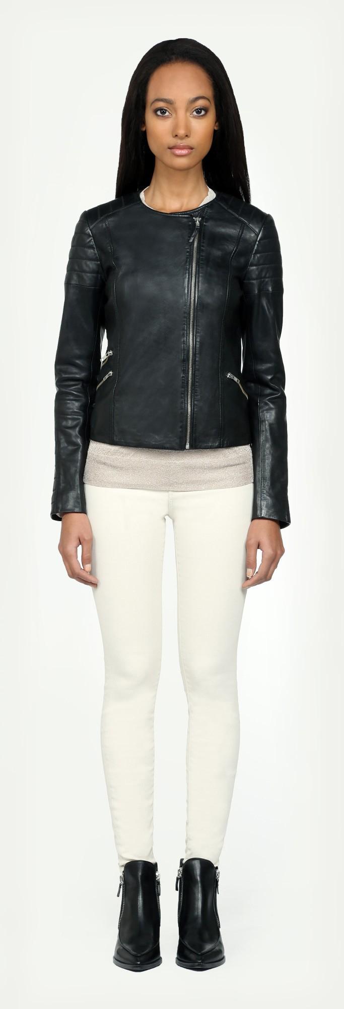 4da84303b SOIA & KYO Trudy Black Collarless Biker Leather Jacket in Black - Lyst