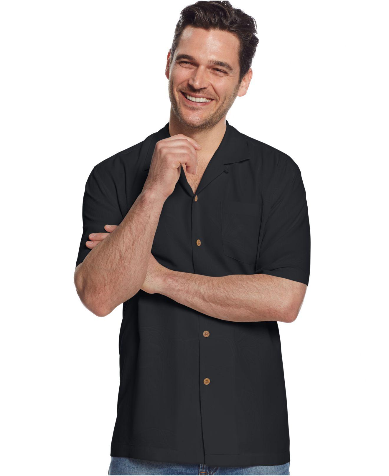 Tommy Bahama Big Tall Bedarra Garden Silk Shirt In Black