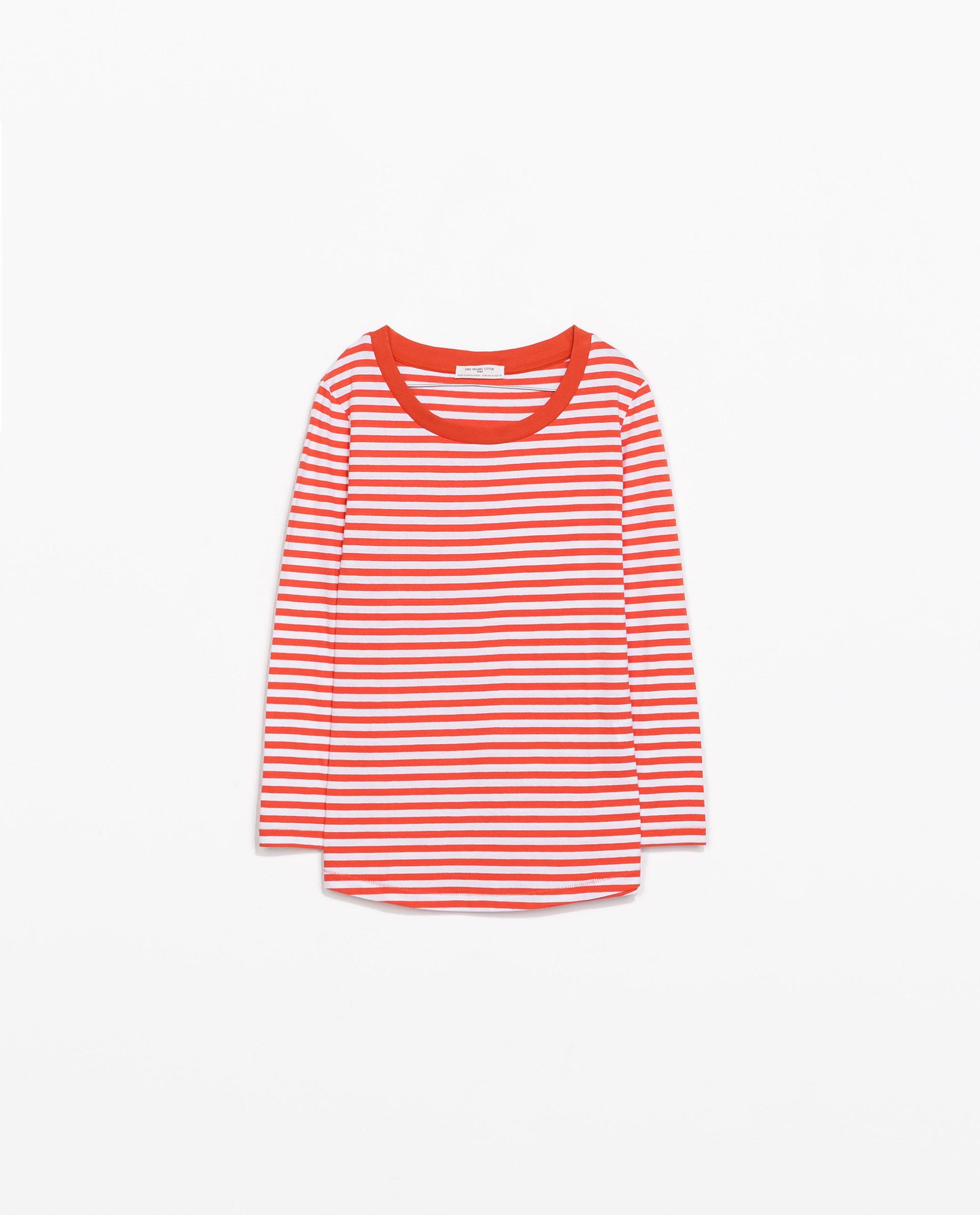 Zara Striped Organic Cotton T Shirt In Red White Red
