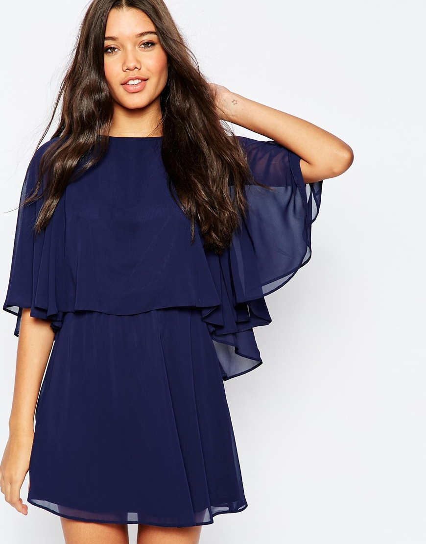 Asos Crop Cape Mini Skater Dress in Blue | Lyst