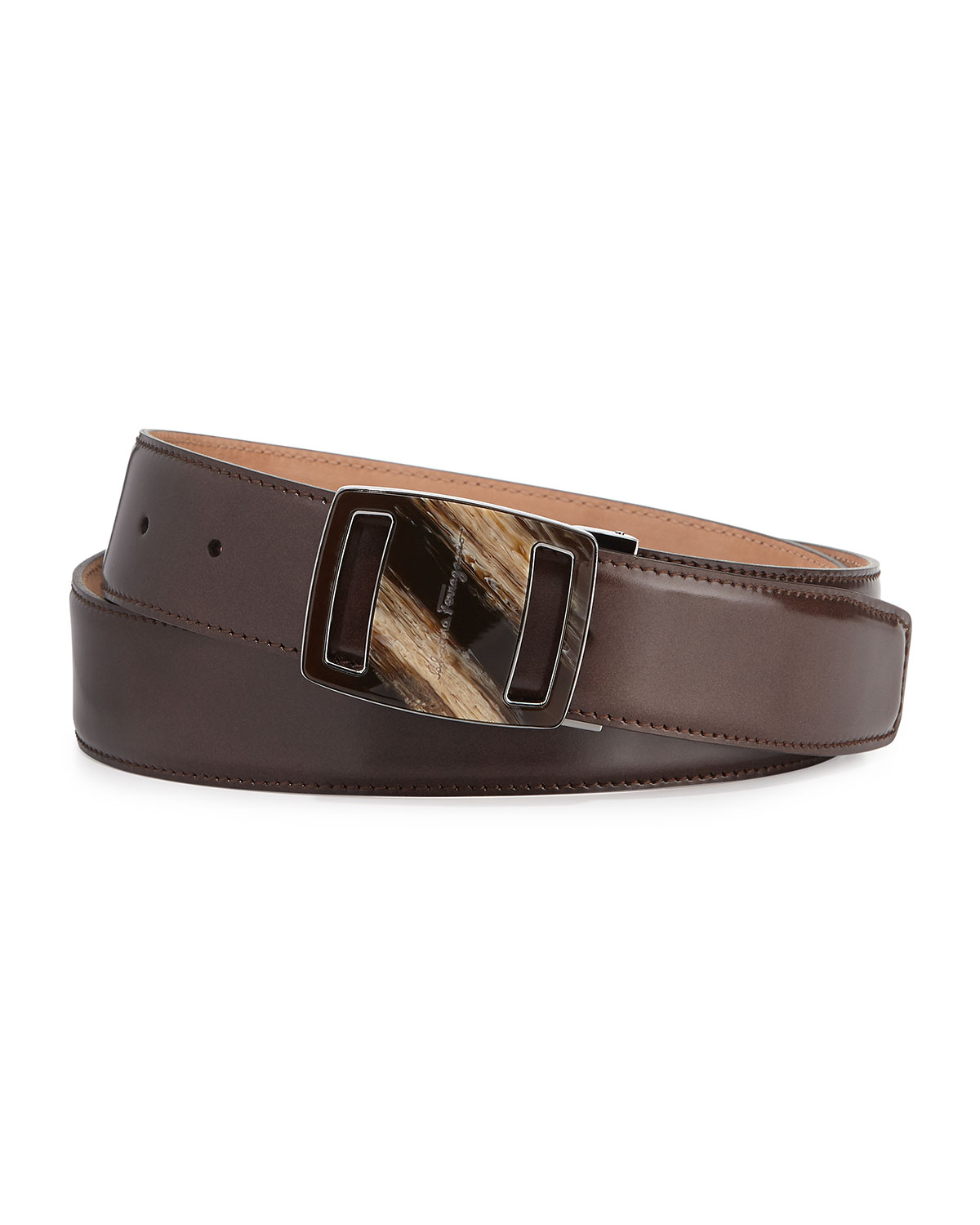 ferragamo vara sardegna oversized leather belt in brown