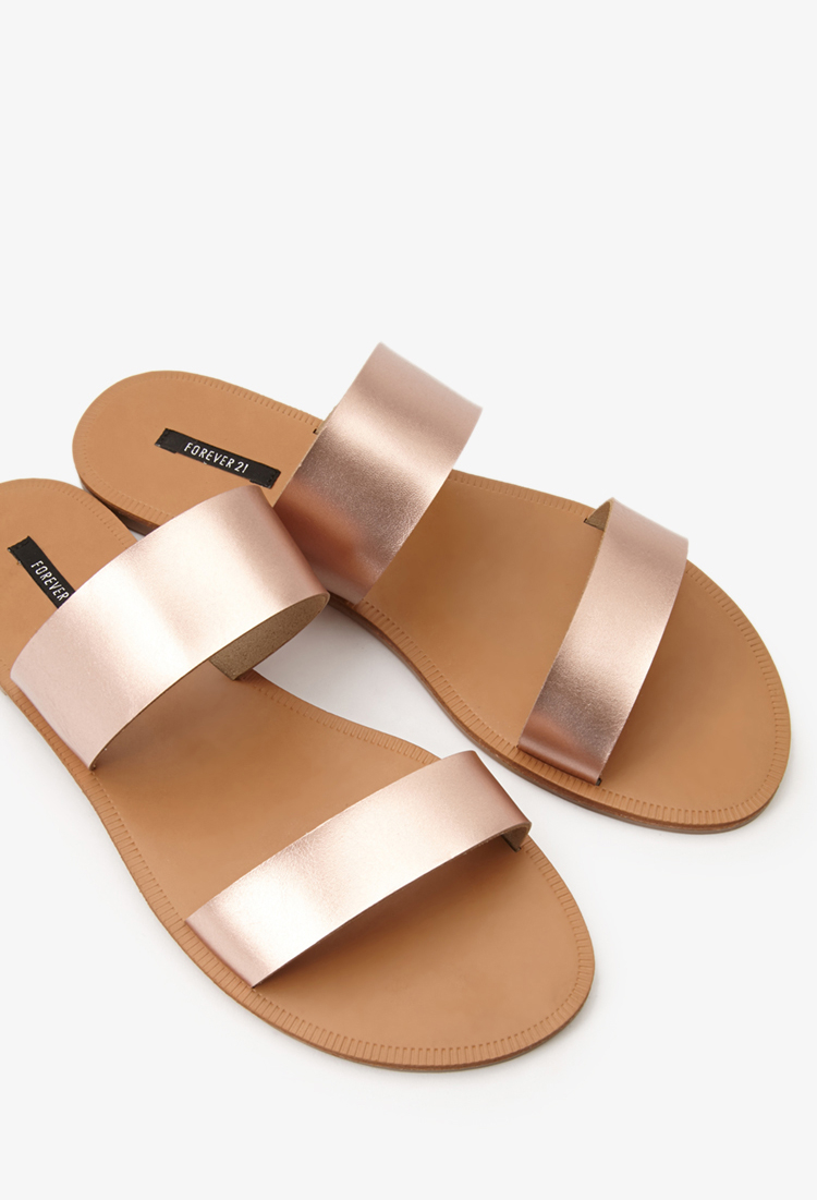 Lyst - Forever 21 Metallic Strap Sandals in Pink 72c62eb09