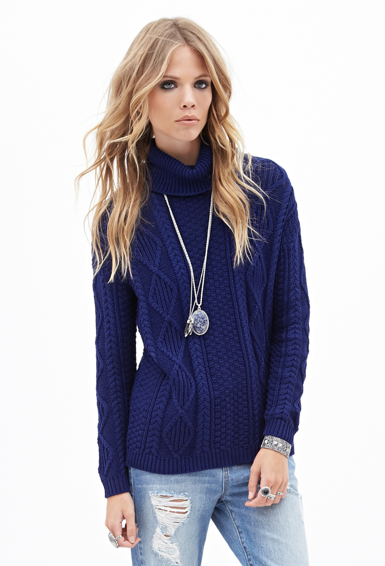 Forever 21 Cable Knit Turtleneck Sweater in Blue | Lyst