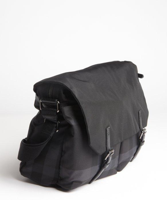 924c19dff18b Lyst - Burberry Black and Check Nylon Messenger Bag in Black for Men