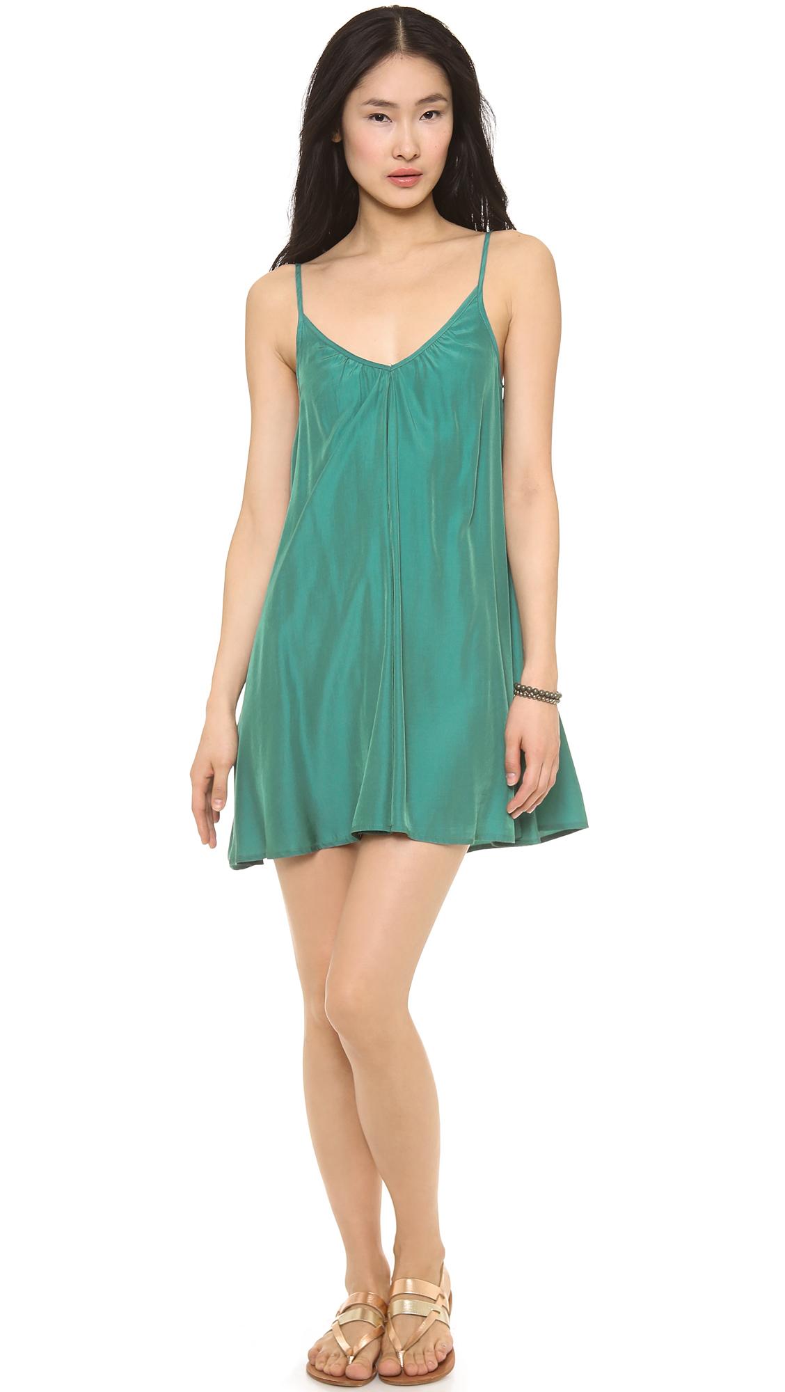 Pink stitch Summer Mini Dress in Green   Lyst