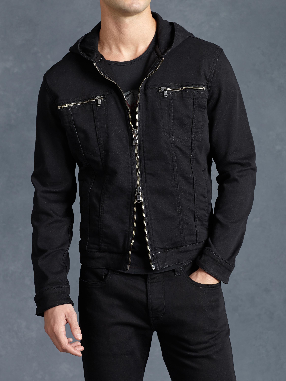 John varvatos Hooded Denim Jacket in Black for Men | Lyst
