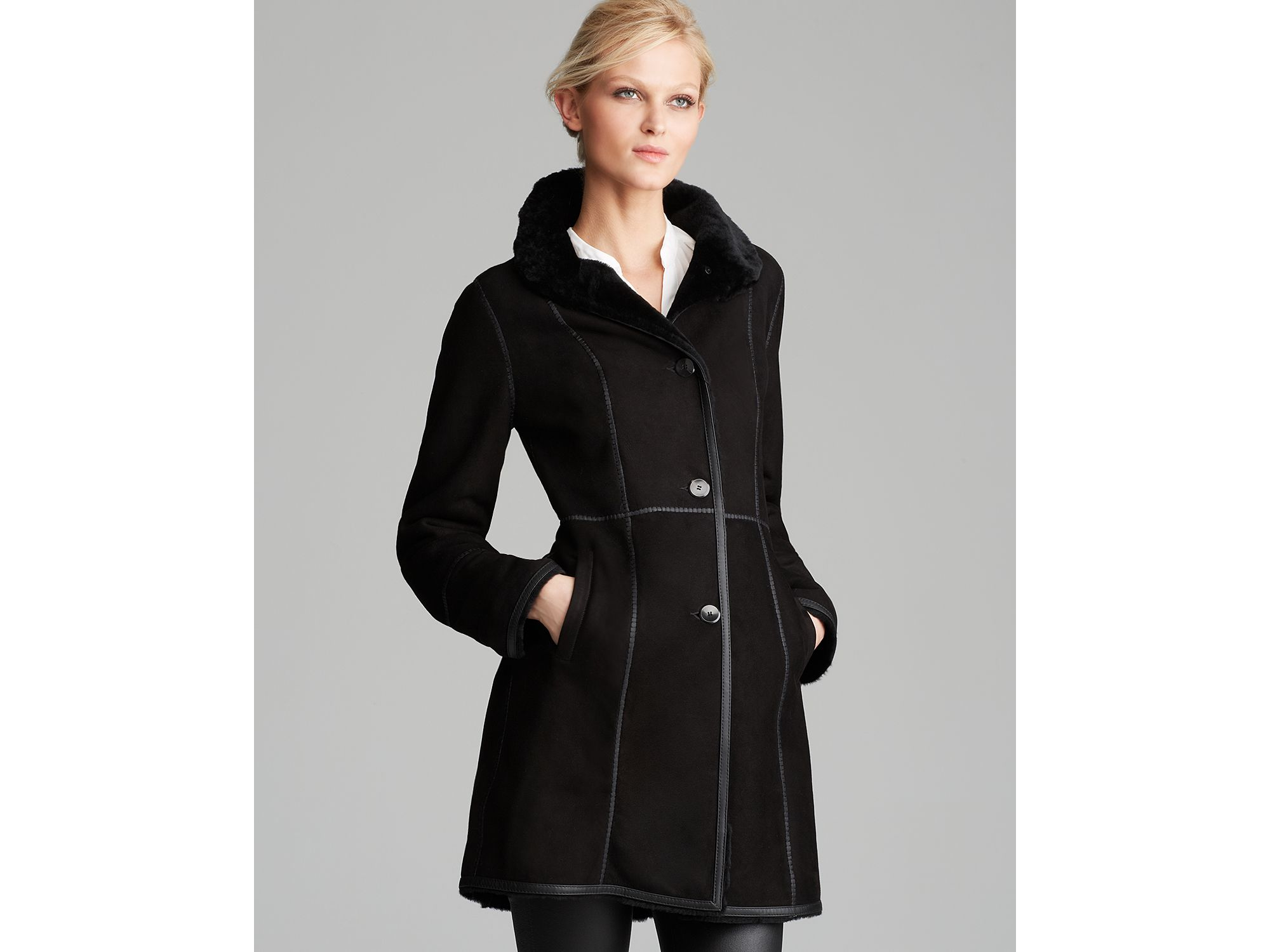 Maximilian Shearling Lamb Three Quarter Sleeve Coat With Leather