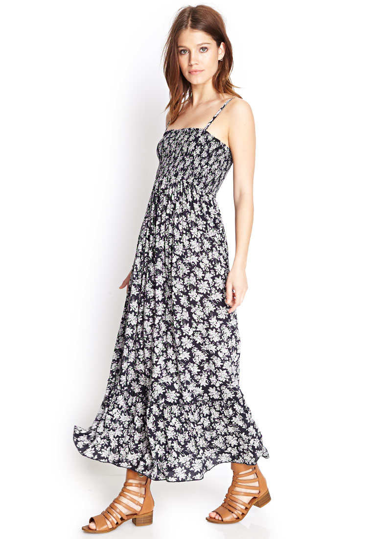Forever 21 Smocked Floral Maxi Dress in Blue | Lyst