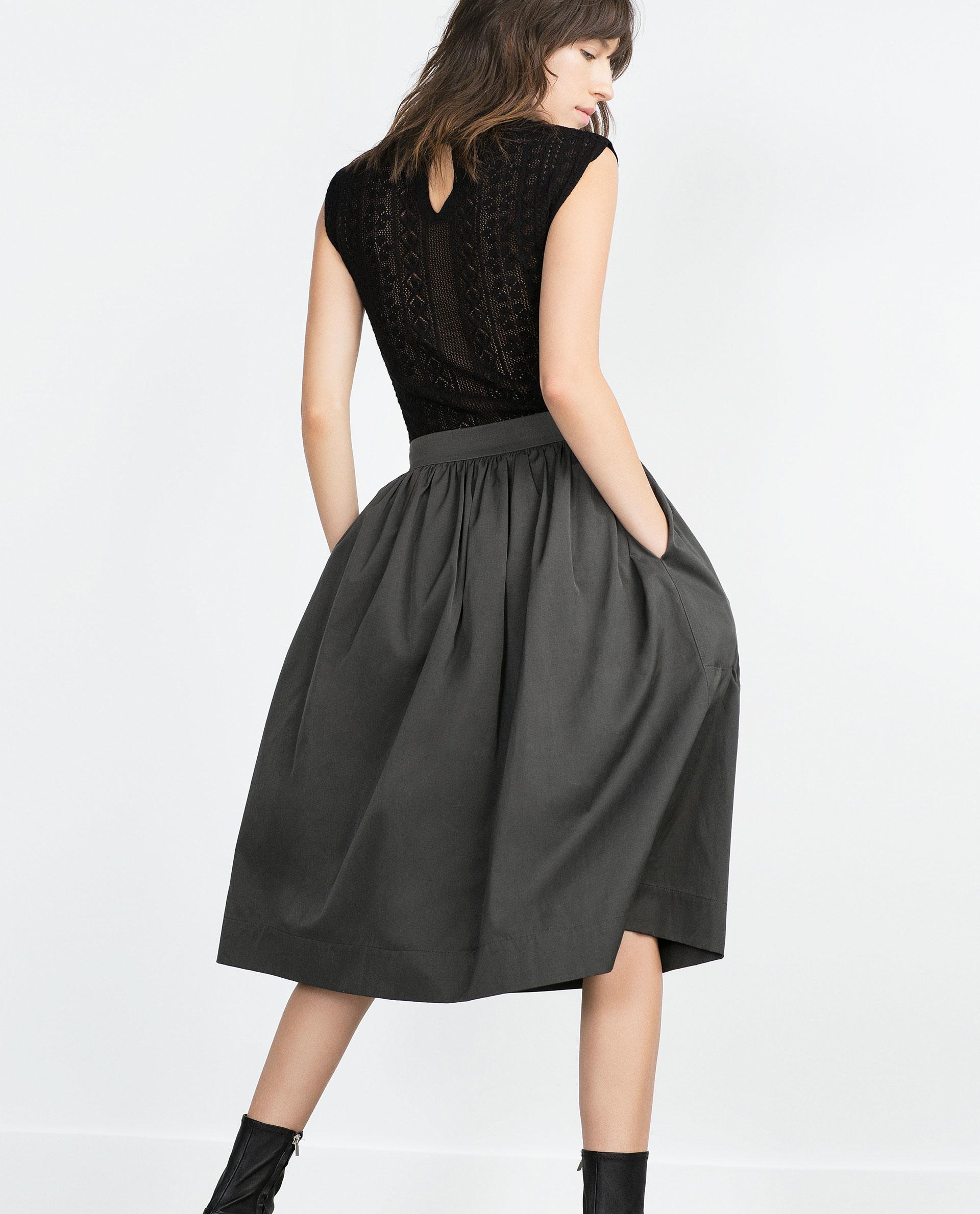 zara midi skirt in gray grey lyst