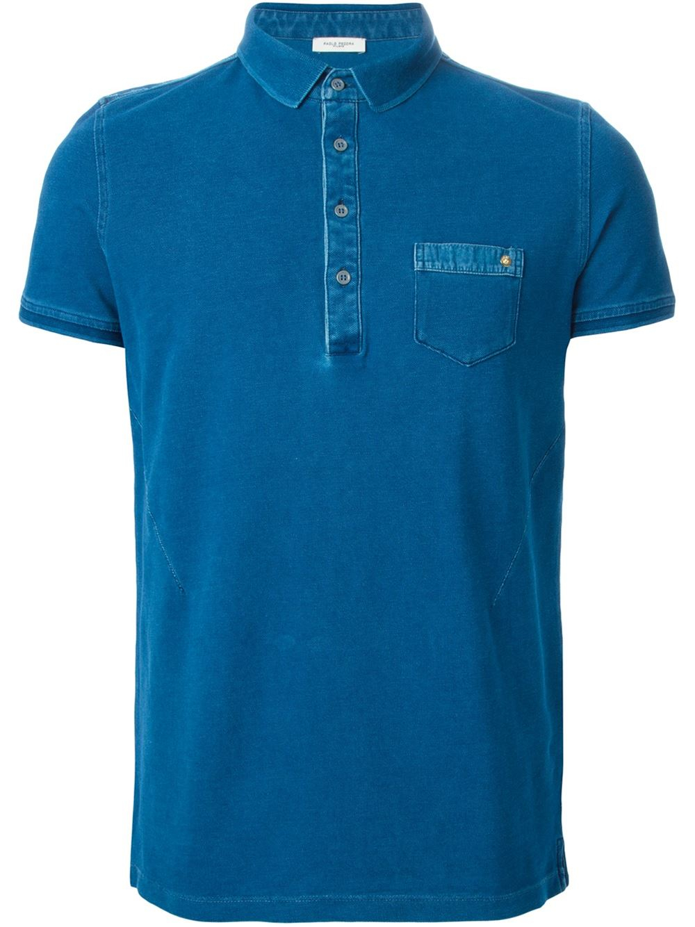 Paolo pecora chest pocket polo shirt in blue for men lyst for Men s polo shirts with chest pocket