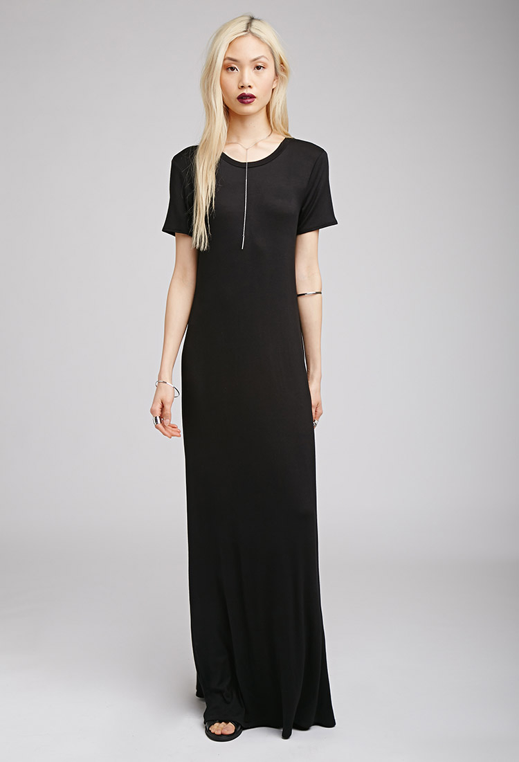 2c695729621c Lyst - Forever 21 Maxi T-shirt Dress in Black