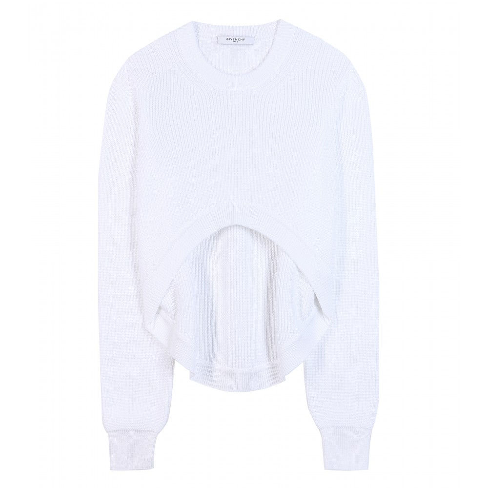 Givenchy Cropped Cotton Sweater in White | Lyst