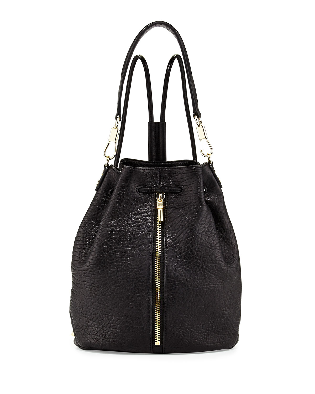 Elizabeth and james Langley Fur-flap Leather Backpack in Black ...