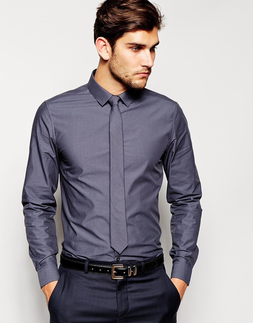 Asos smart shirt and tie set in tonic in gray for men lyst for Shirt and tie for men