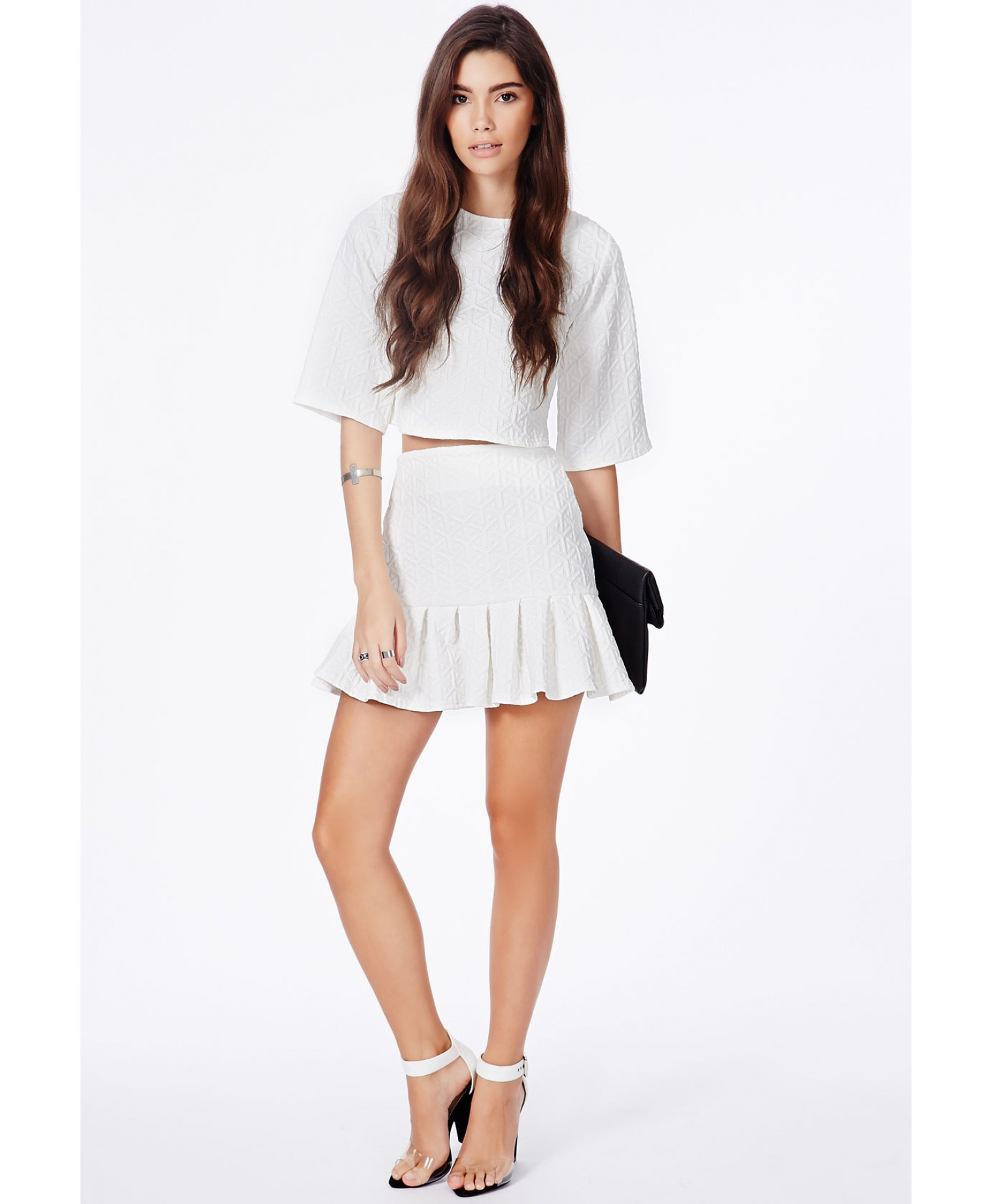 Missguided Mattie White Textured Pleated Mini Skirt in White | Lyst