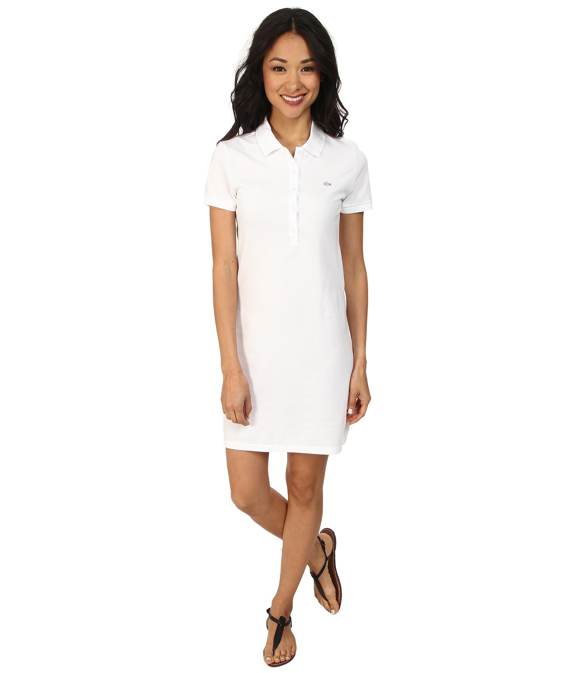 f7ea6e1e3c794e Lyst - Lacoste Short Sleeve Classic Pique Polo Dress in White