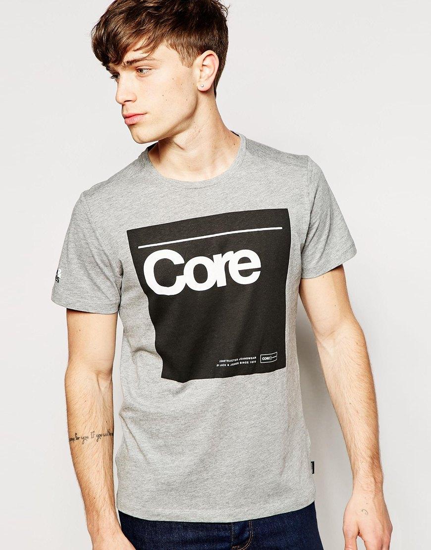 JACK and /& JONES CORE T-Shirt *** Party Hemd HERREN TSHIRT Druck Print grau grey