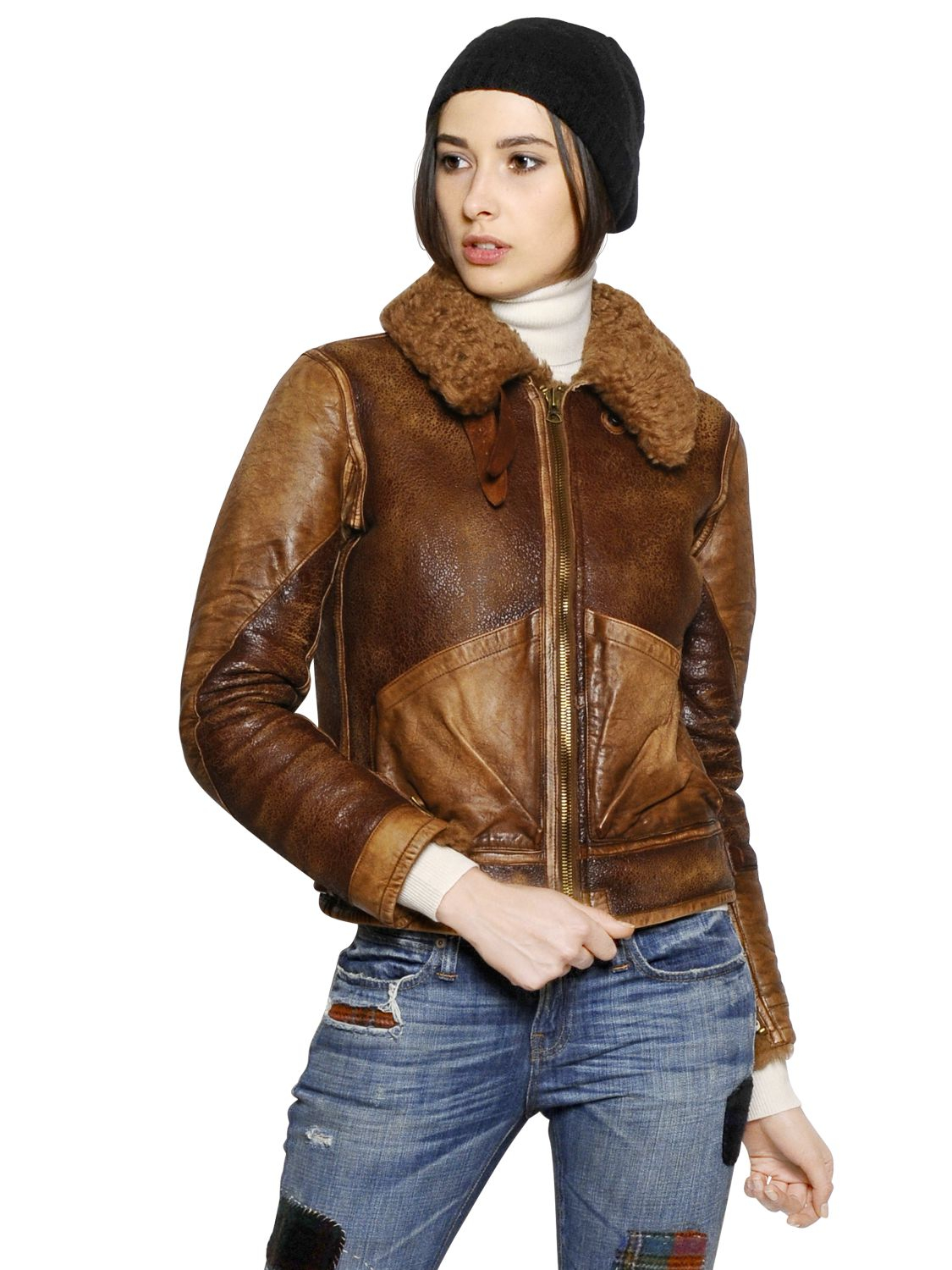 Polo Ralph Lauren Shearling Leather Jacket in Brown - Lyst 9bb4e56863ab2