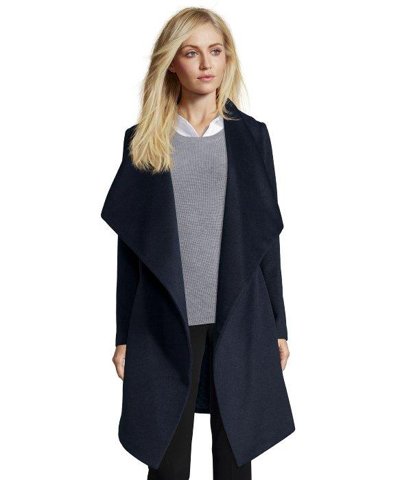 Diane von furstenberg Navy Wool Blend Shawl Collar Belted Wrap ...