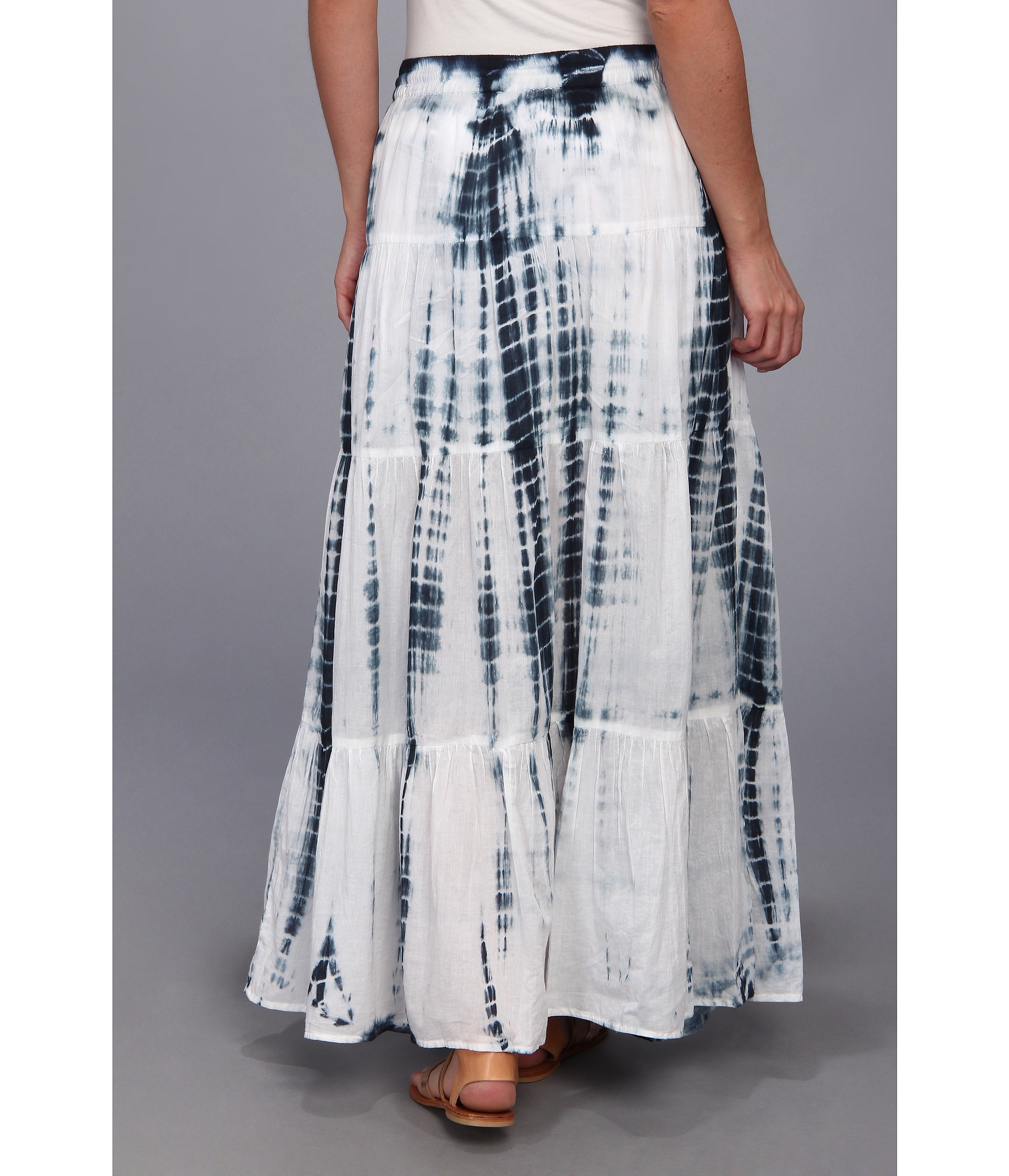 michael michael kors tiered maxi skirt in blue navy lyst