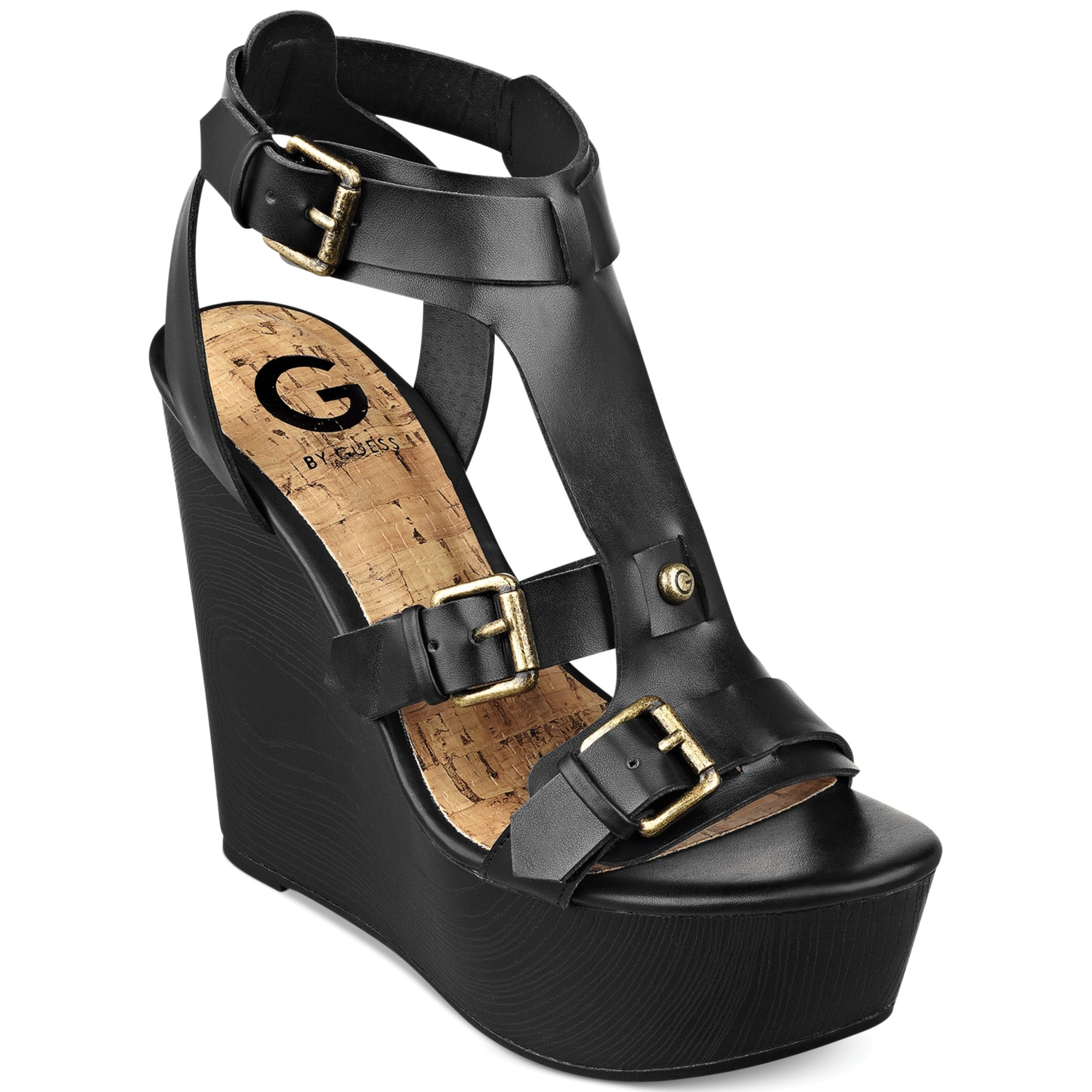 G By Guess Womens Tazzy Platform Wedge Sandals In Black Lyst