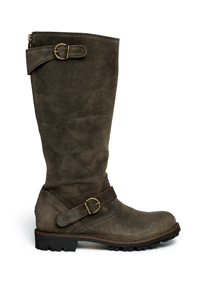 fiorentini baker 39 jade 39 eternity suede buckle boots in. Black Bedroom Furniture Sets. Home Design Ideas