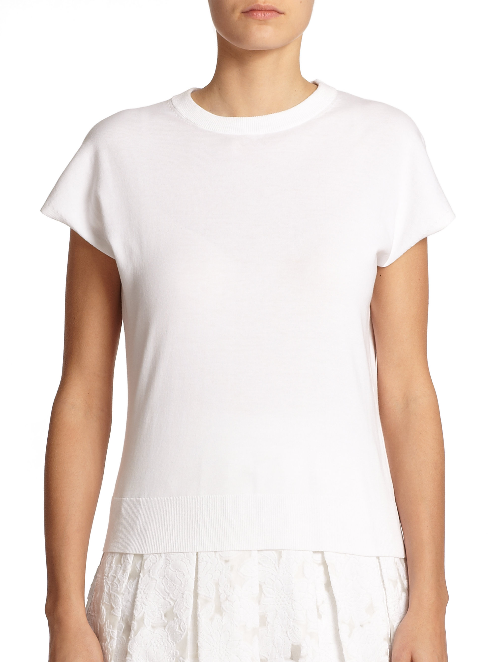 michael kors cotton knit pullover in white lyst. Black Bedroom Furniture Sets. Home Design Ideas