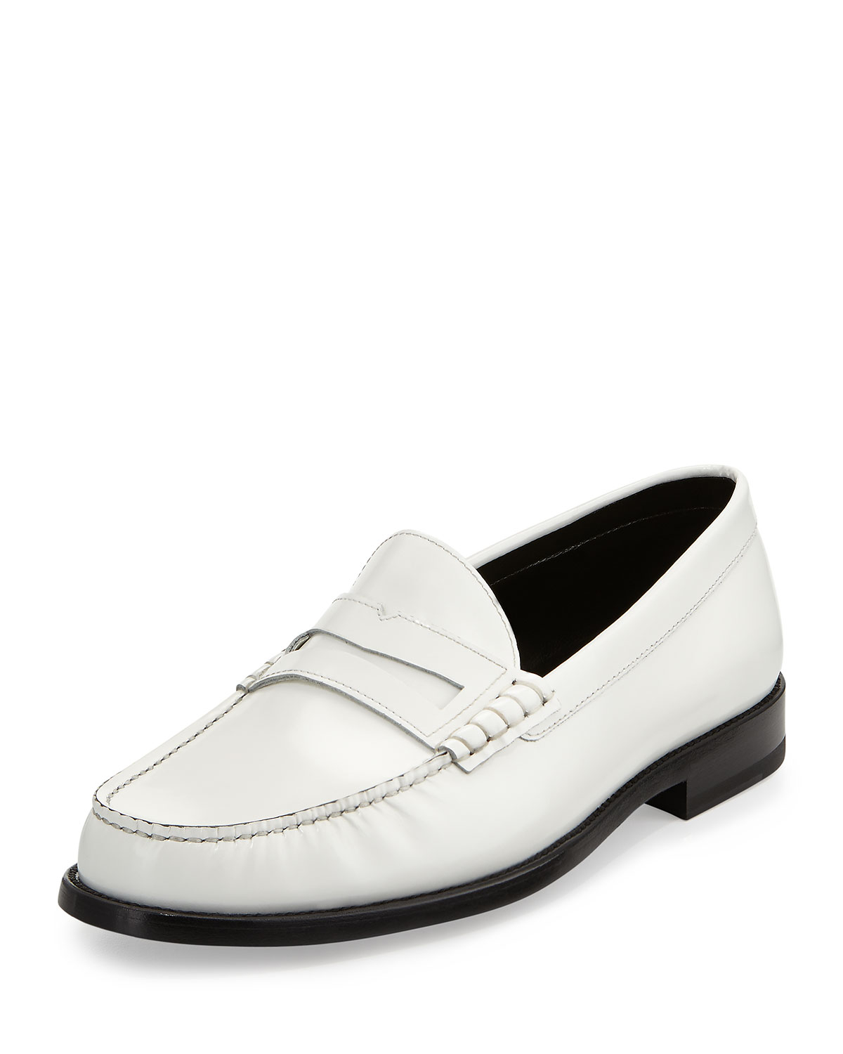 Saint Laurent Classic Leather Penny Loafer White for Men ...